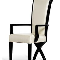A&X Transitional X Leg White Crocodile Leatherette Dining Arm Chair
