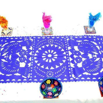 Mexican Decorations, Blue table runner, Papel Picado, Fiesta decoration, Mexico table runner