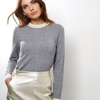 Pale Grey Metallic Stripe Hem Funnel Neck Top