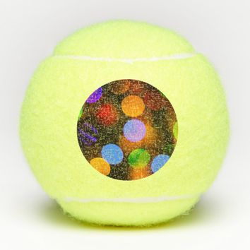 Multicolored Christmas lights. Tennis Balls