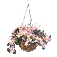 Pink Hydrangea Hanging Basket Decor