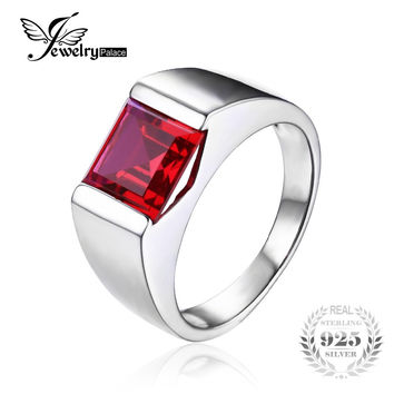 Jewelrypalace Men's Square 3.3ct Created Red Ruby 925 Sterling Sliver Engagement Ring for Men Fine Jewelry Rings Fashion Man