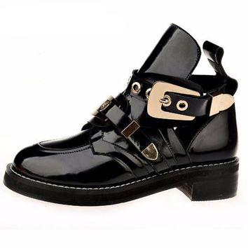 Double Buckle Patent Ankle Boots