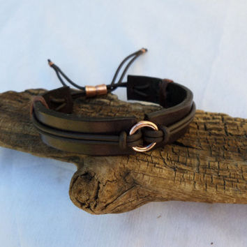 Leather Bracelet, Men's Leather Bracelet, Men's Copper bracelet, Copper Bracelet, Leather Bracelet, ColeTaylorDesigns