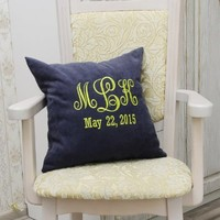 Monogram Pillow Covers Custom Pillowcase Personalized Family Name Established Date Pillow Cover Home Bedroom Decor Monogrammed Throw Pillows Wedding Gift V30