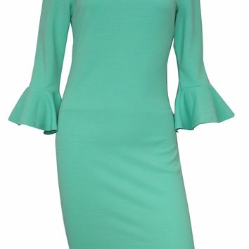 Monica Off-the-Shoulder with Bell Sleeves Dress (Mint)