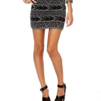 Cute Mini Skirt - Print Skirt - Grey Skirt - $24.00