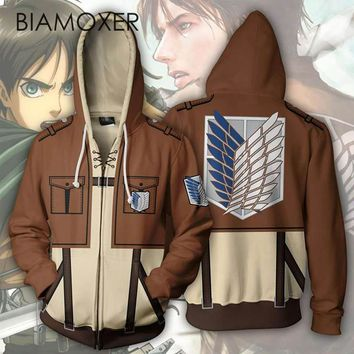 Cool Attack on Titan Biamoxer Anime  Levi Mikasa Eren Cosplay Costumes Men Women Hoodies Sweatshirts Spring Jacket Coat Luxtees AT_90_11