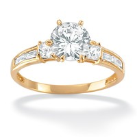 2.14 TCW Round Cubic Zirconia 18k Gold over Sterling Silver Engagement Anniversary Ring