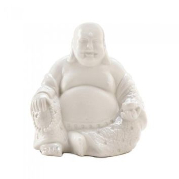 Happy White Buddha Figurine
