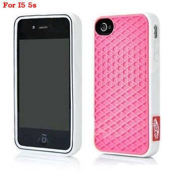 Vans Off The Wall Shoes Sole Soft Rubber Silicone Pink With White Cover Case For iPhone 5/5s