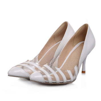 Japanese sweet style sexy pointed toe pump fashion transparent color matching gold silver red yellow black high heel women shoes