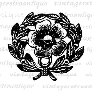 Printable Flower Embellishment Digital Image Floral Leaf Design Element Download Graphic Antique Clip Art Jpg Png  HQ 300dpi No.1329
