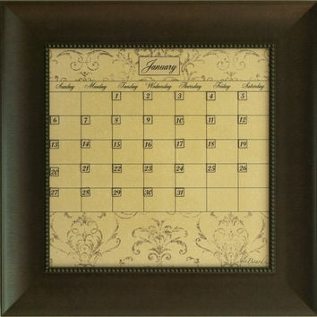 Dry Erase Calendar Board Framed Brown Small Mocha Home Decoration and Office Organization