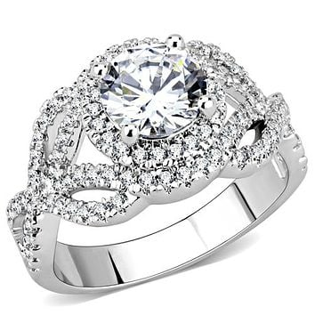 A Perfect 1.6CT Round Cut Halo Russian Lab Diamond Engagement Ring