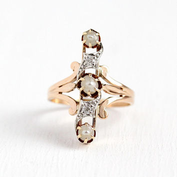 Diamond & Pearl Ring - Vintage Size 6 1/2 10k Rosy Yellow Gold Navette - Antique 1900s Victorian Elongated Fine Two Tone Jewelry