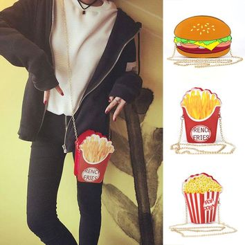 Cartoon Hamburg, French Fries, Popcorn Shoulder Messenger Chain Bag