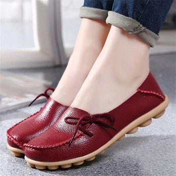 US SIZE New PU Leather Women Flats Moccasins Loafers Wild Driving women Casual Shoes L