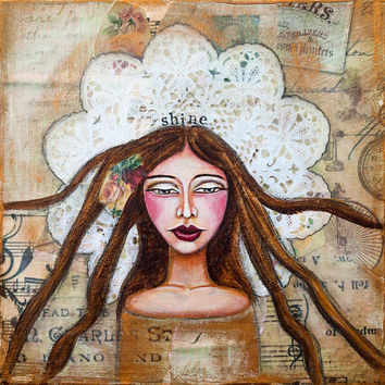 "Mixed media painting of woman with self affirmation – shine, gold decorative wall art, folk art, giclee art print 12"" x 12"" - 30 x 30 cm"