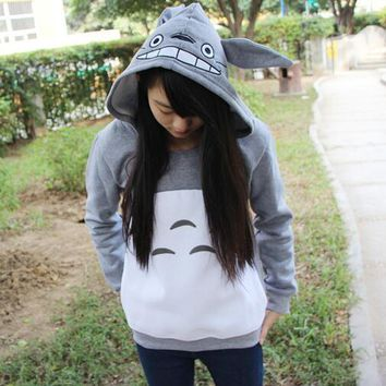 New cute girls Totoro hoodies kawaii emoji for women men hood pullovers gray cotton my neighbor sweatshirt anime cartoon tops