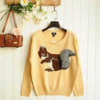 Cartoon Squirrel Loose Pullover Sweater