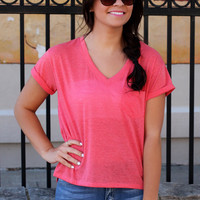 Roll Up Tee - Coral