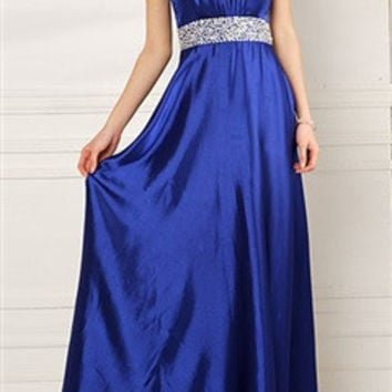 Pleated Halter Neck Evening Dress With Beading Waist In Blue