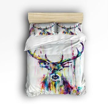 Twin Size Bedding Set- Watercolor Deer Reindeer Antler Duvet Cover Set Bedspread for Childrens/Kids/Teens/Adults, 4 Piece