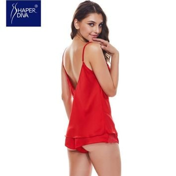 Burvogue Women New Spaghetti Strap Lace Pajamas Sexy Pajama Sets Deep V Camisole Satin Pajamas Shorts Set Sleepwear Nightdress