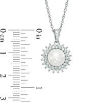 7.5 - 8.0mm Cultured Freshwater Pearl and Lab-Created White Sapphire Pendant in Sterling Silver
