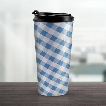 Blue Gingham Travel Mug - Pattern White Blue Gingham - 15oz Stainless Steel - Made to Order