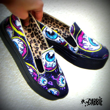 Eye Am Watching - Canvas Slip On Shoes, Creepers, Horror, Zombie, Monster, Eyeball, Punk, Vans Style - Custom Printed - One of a kind!