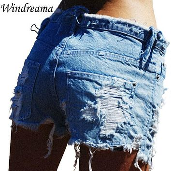 Windreama Frayed Denim Shorts Women Casual Summer Jeans Short Feminino Slim Femme Low Waist Wind Female Worn Burr Hole