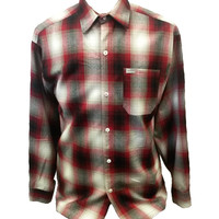 Red Long Sleeve Button Down Flannel Shirt
