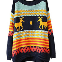 Deer and Abstract Embroidered Sweater