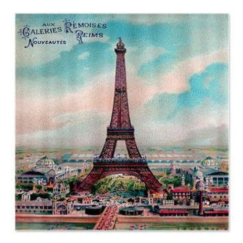Vintage Colorful Eiffel Tower Shower Curtain> Coastal, Vintage and Urban Chic Shower Curtains> Rebecca Korpita Coastal Design