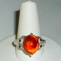 Large Baltic Amber Ring With Amethyst & Black Spinel Sterling Silver .925
