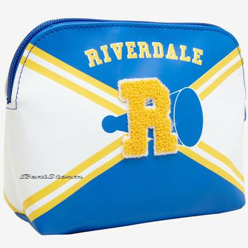 "Licensed cool Riverdale High School Varsity Cheer Cosmetic Makeup Bag Chenille ""R"" Hot Topic"