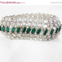 Spring Sale Vintage Rhinesone Bracelet Wide Green Wedding Bridal Jewelry 1950s