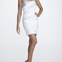 Strapless Sequin and Taffeta Homecoming Dress - David's Bridal - mobile