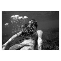 "Photography Underwater Woman Bubbles Black And White Dive Sea 16"" x 20"" Original Art Print"