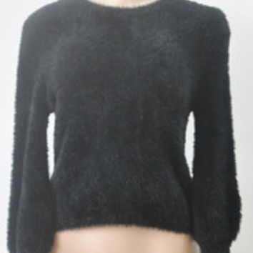 Sexy Long Women's Super Cute Low Crop Knit Sweater Black