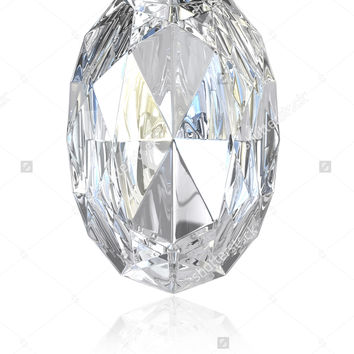 Oval cut diamond, isolated on white background