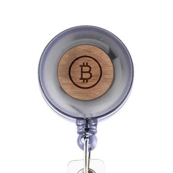 Bitcoin Badge Holder with Retractable Reel, Badge Holder, Personalized Badge Holder, Corporate Gifts