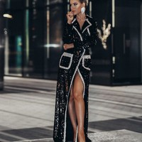Seka Black Sequin Maxi Dress/Jacket