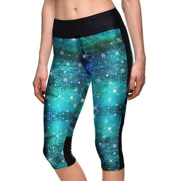 Blue Galactic 3D Skull Print Athletic Sports Capri's Leggings