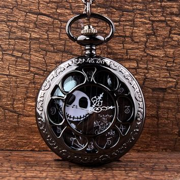 Jack Skellington Nightmare Before Christmas Quartz Pocket Watch Vintage Hollow Necklace Steampunk Watch Women Men Tim Burton