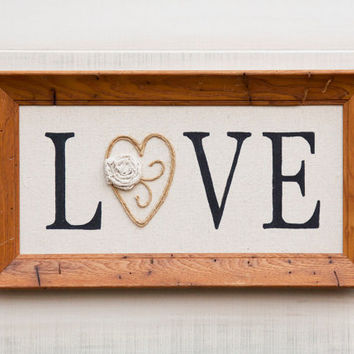 Canvas LOVE wall art in vintage 50's wormy wood frame, hand painted word, ribbon rose, twine accents. Country Cottage Chic Rustic Decor