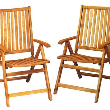 Set of 2 Acacia Wood Folding Chairs Outdoor Patio Furniture