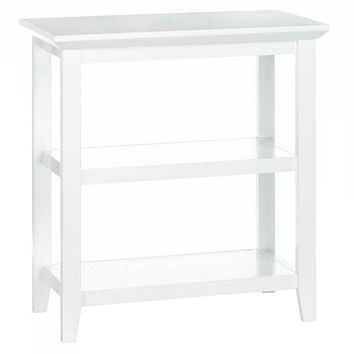 Slim White Table with Two Shelves